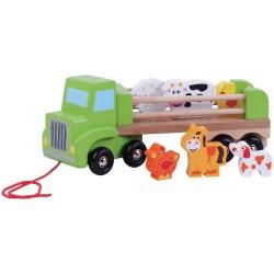 Camion din lemn cu animale...