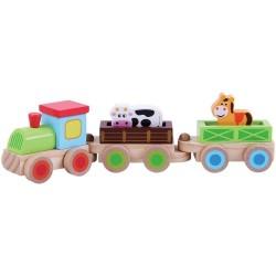 Trenulet din lemn cu...